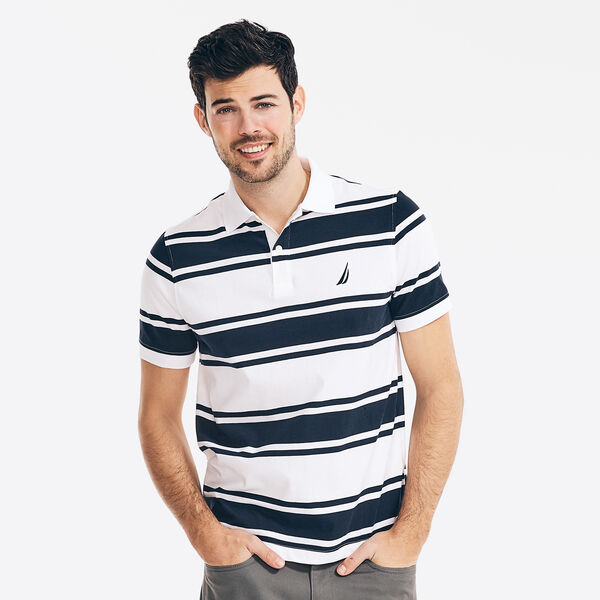 CLASSIC FIT STRIPED POLO - Bright White