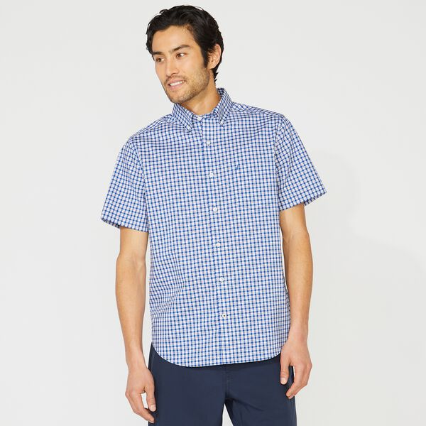 CLASSIC FIT WRINKLE RESISTANT PLAID SHIRT - Windsurf Blue