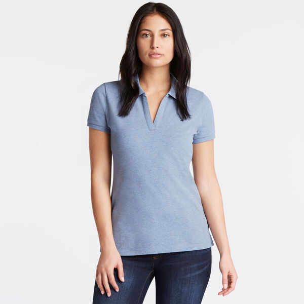 Split-Neck Classic Fit Polo Shirt - Deep Cobalt