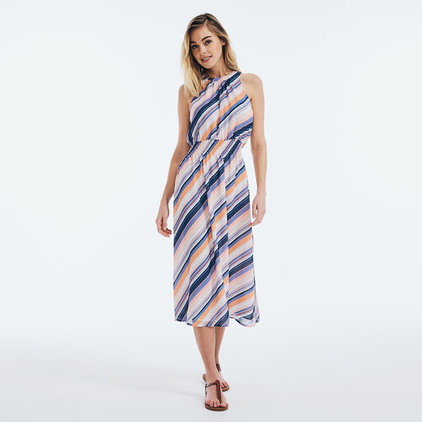 CHIFFON STRIPED MIDI DRESS - Cobalt Wave
