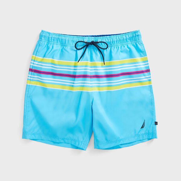 "8"" PERFORMANCE STRIPE SWIM SHORTS  - Aqua Sky"