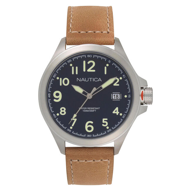 Glen Park Watch with Leather Band,Multi,large