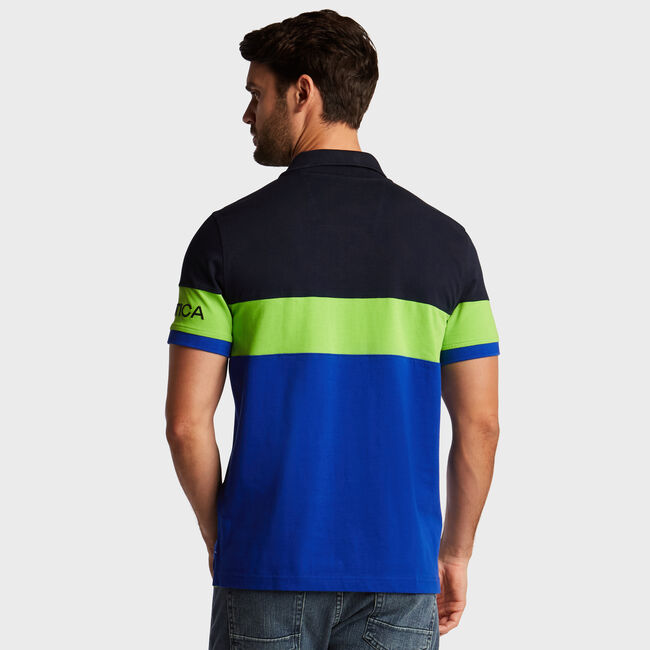 Quarter-Zip Classic Fit Short Sleeve Chest Stripe Polo,Bright Cobalt,large