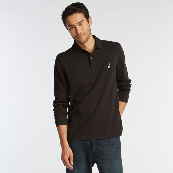 CLASSIC FIT LONG SLEEVE MESH POLO - True Black