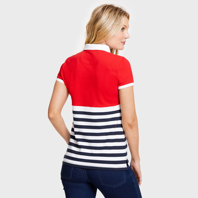 Sunset Stripe Spinnaker Patch Classic Fit Polo,Tomales Red,large
