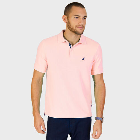 Big & Tall Short Sleeve Classic Fit Pique Deck Polo - Sunset