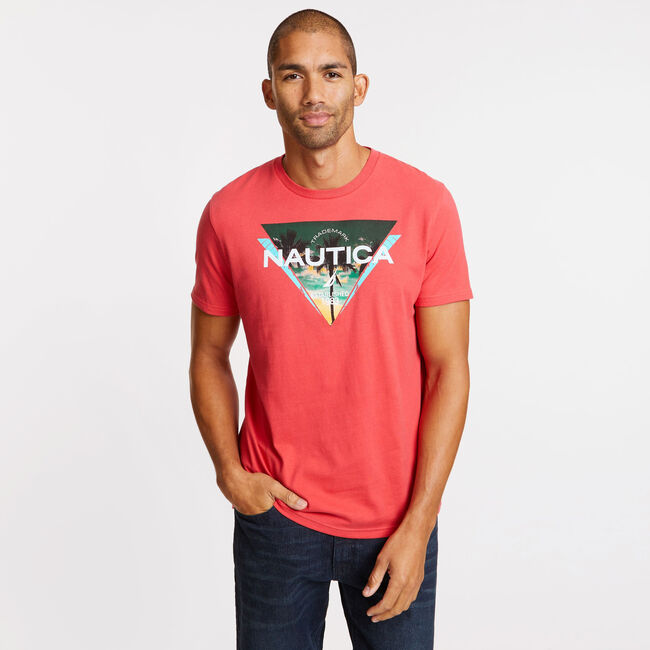 Short Sleeve Triangles Logo T-Shirt,Coral Cape,large