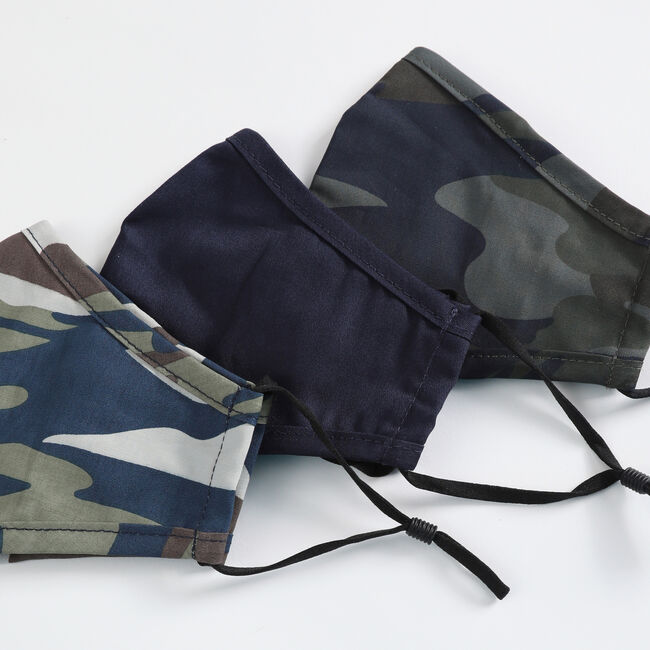 CAMOUFLAGE PRINT AND SOLID REUSABLE FACE MASK, 3 PACK,Multi,large