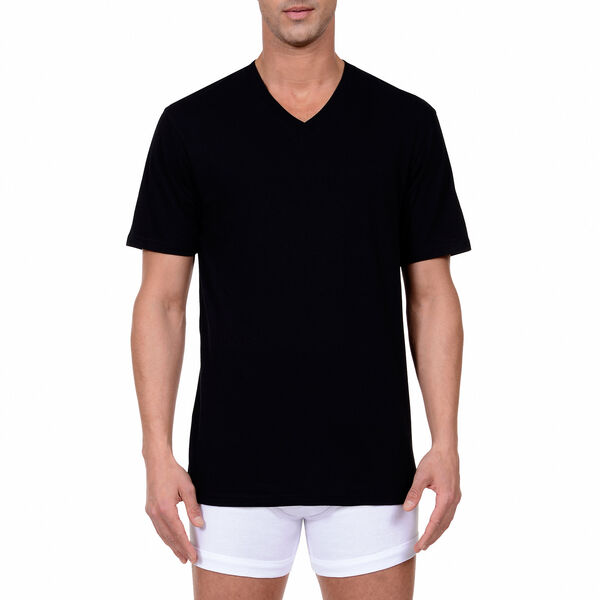 V-Neck T-Shirts, 3-Pack - True Black