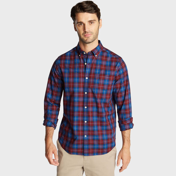 BIG & TALL STRETCH WRINKLE RESISTANT SHIRT IN PLAID - Zinfandel