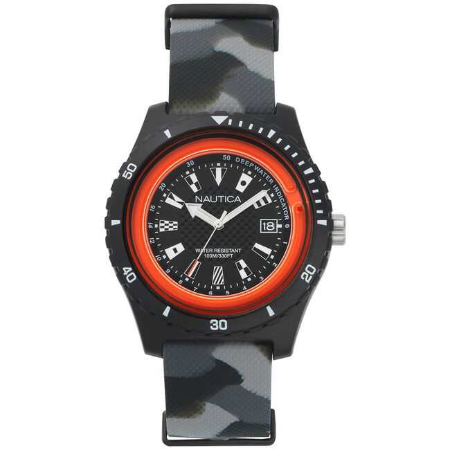 Surfside 3-Hand Watch - Black & Red,Multi,large