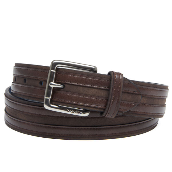 Double Overlay Casual Belt - Brown