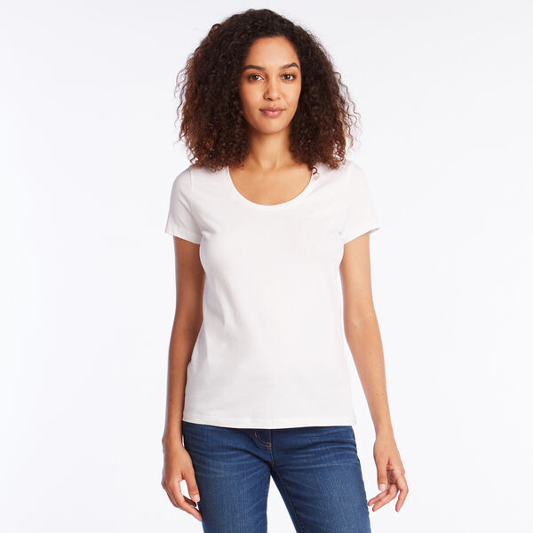 SOLID SCOOP NECK TEE - Bright White