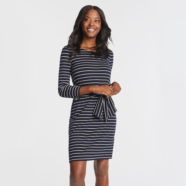 STRIPE TIE WAIST SOFT SPUN KNIT DRESS - Stellar Blue Heather