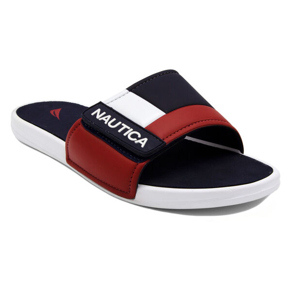 Bower Slide Sandal in Navy/White/Red - Pure Dark Pacific Wash