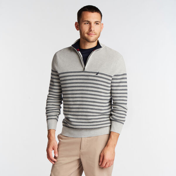 QUARTER ZIP STRIPE NAVTECH SWEATER - Grey Heather