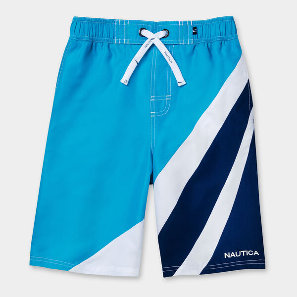 LITTLE BOYS' MAKOA COLORBLOCK SWIM TRUNKS (4-7) - Star Turquoise
