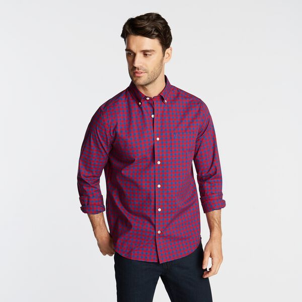 CLASSIC FIT WRINKLE-RESISTANT GINGHAM SHIRT - Nautica Red