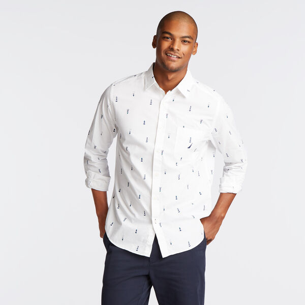 CLASSIC FIT POPLIN SHIRT IN LIGHTHOUSE PRINT - Bright White