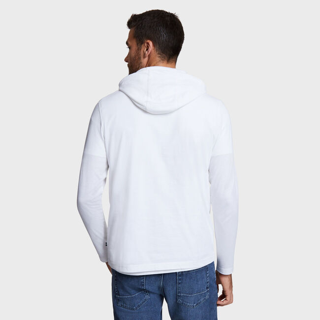 Chest Logo Beach-to-Street Hoodie,Bright White,large