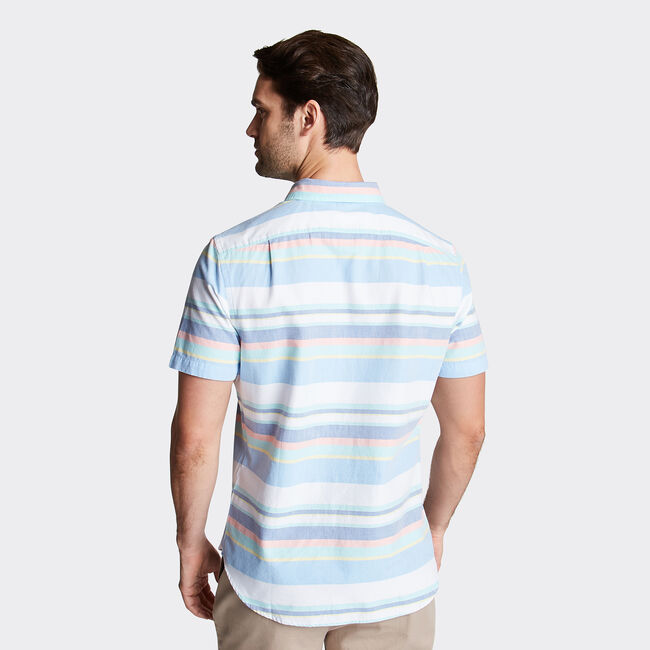 CLASSIC FIT SHORT SLEEVE OXFORD SHIRT IN MIXED STRIPE,Bright White,large