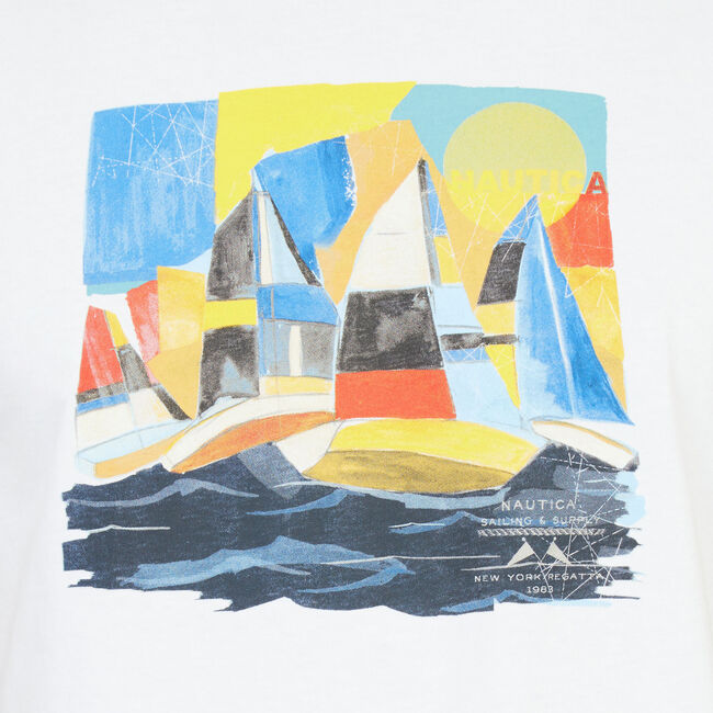 Big & Tall Painted Sailboats T-Shirt,Bright White,large