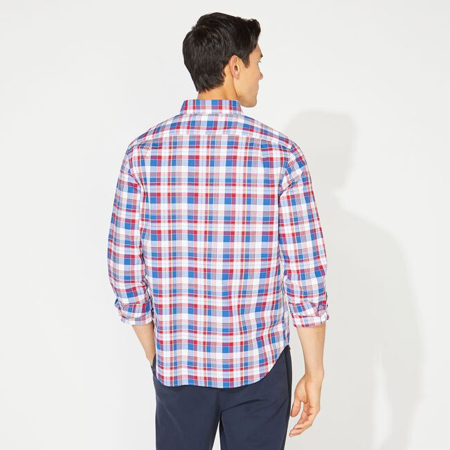 CLASSIC FIT PLAID SHIRT,Nautica Red,large