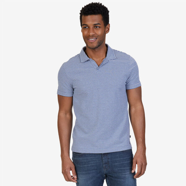Classic Fit Striped Polo Shirt - Distressed Blue Wash
