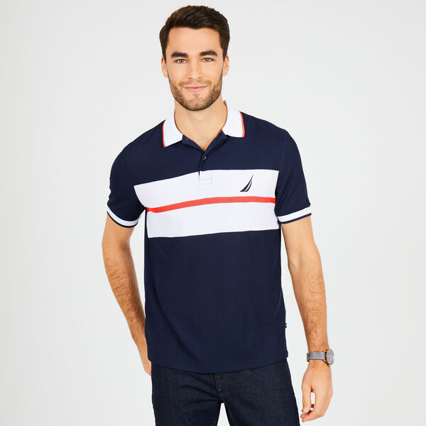 Classic Fit Tech Chest Stripe Polo - Navy