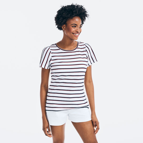 STRIPED PUFF-SLEEVE TOP - Bright White