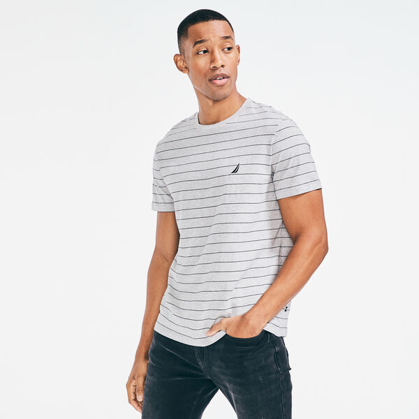 Yarn Dyed Stripe Crewneck Tee  - Grey Heather