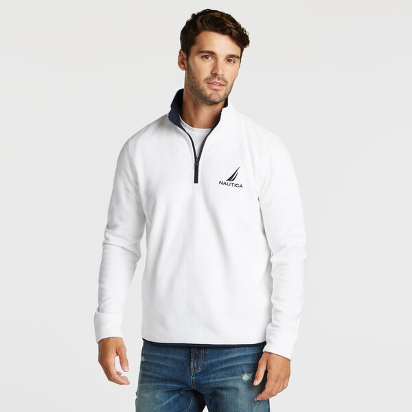 QUARTER ZIP NAUTEX FLEECE PULLOVER - Bright White