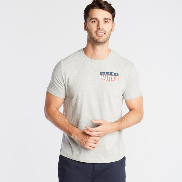 STARS AND ANCHOR GRAPHIC T-SHIRT - Grey Heather