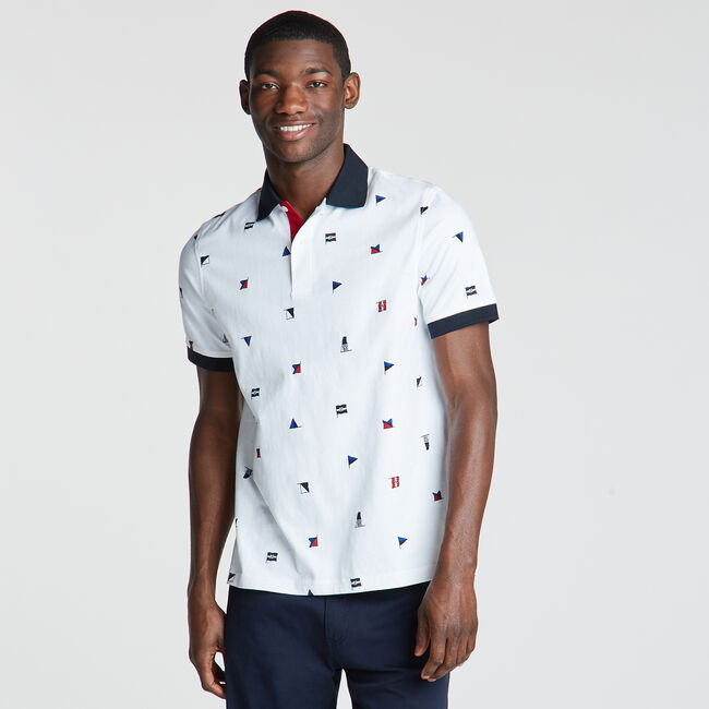 Classic Fit Jersey Polo in Flag Print,Bright White,large