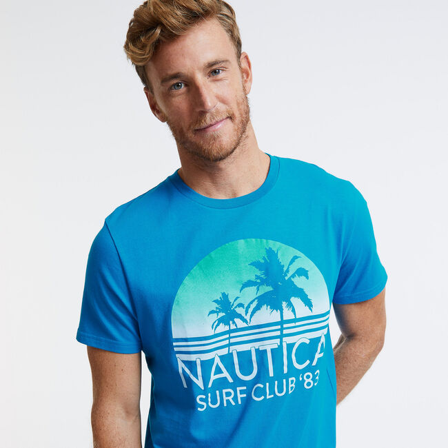 Ombre Sunset Surf Club T-Shirt,Noon Blue,large