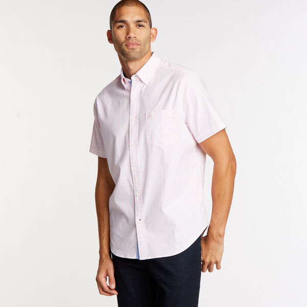 CLASSIC FIT SHORT SLEEVE STRIPED OXFORD SHIRT - Prism Pink