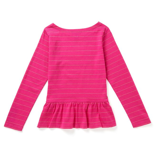 Little Girls' Metallic Stripe Bow Top (4-7),Red Combo,large
