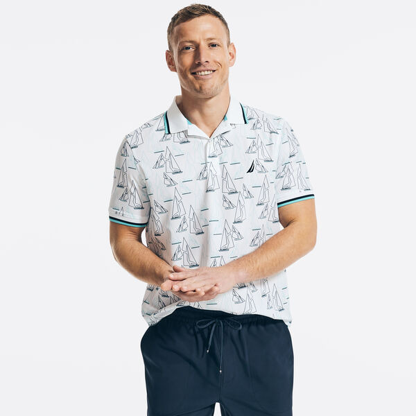 NAVTECH CLASSIC FIT SAILBOAT PRINT POLO - Bright White