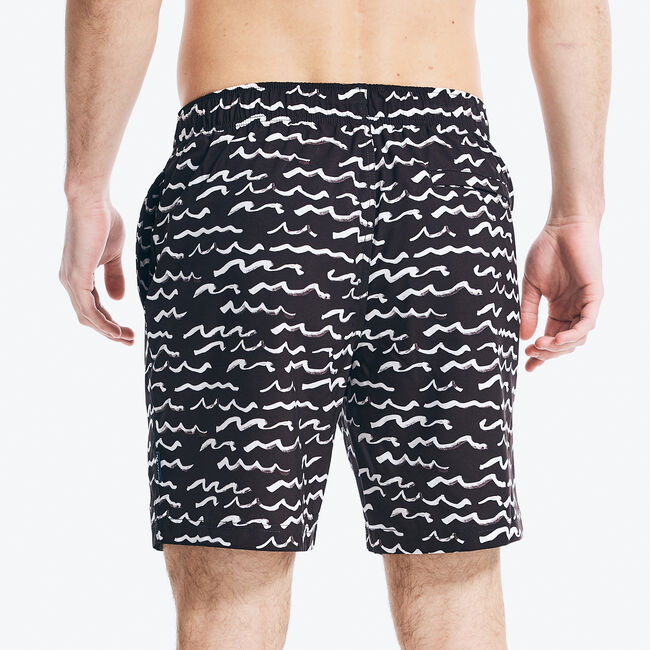"""8"""" NAVTECH SUSTAINABLY CRAFTED WAVE PRINT SWIM,True Black,large"""