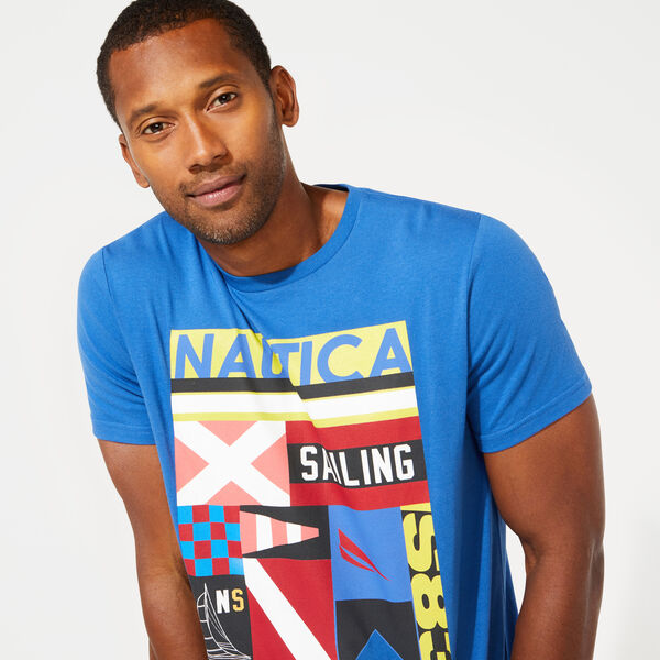 SIGNAL FLAG COLLAGE GRAPHIC TEE - Windsurf Blue