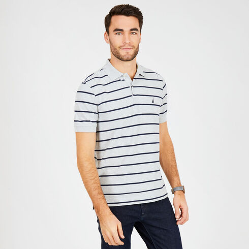 Short Sleeve Classic Fit Striped Deck Polo - Grey Heather