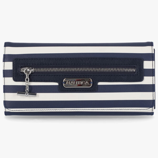 STRIPED LOGO MONEY MANAGER WALLET WITH BOX - Navy