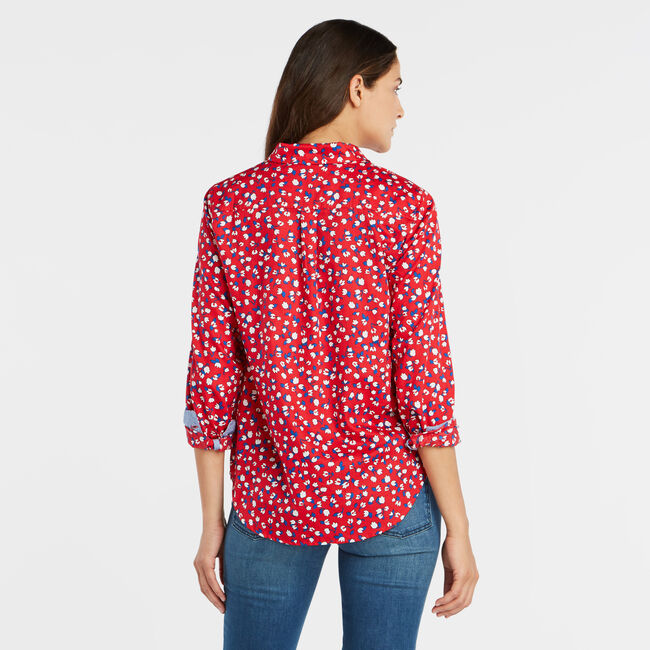 DITSY FLORAL PRINT PERFECT SHIRT,Tomales Red,large