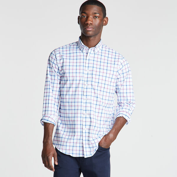 Classic Fit Non-Iron Performance Poplin Shirt in Plaid - Chinchilla