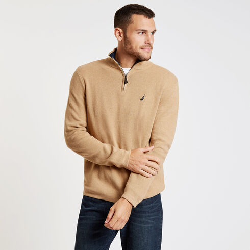Long Sleeve Quarter-Zip Sweater - Espresso