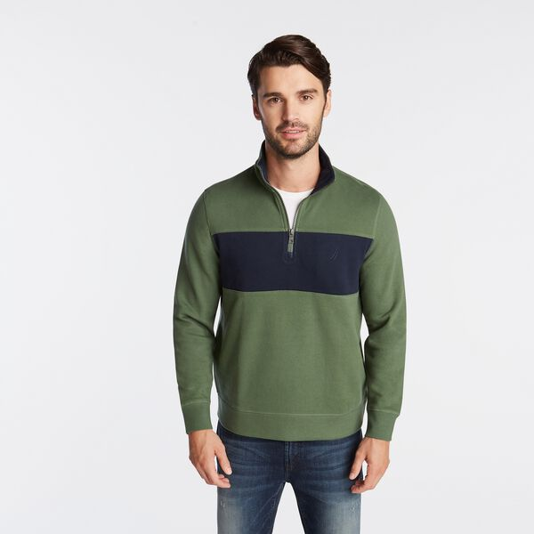 QUARTER-ZIP COLORBLOCK FLEECE PULLOVER - Pineforest