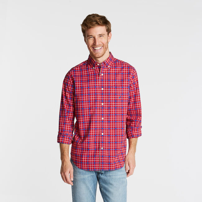 CLASSIC FIT OXFORD SHIRT IN TWO TONE PLAID,Nautica Red,large
