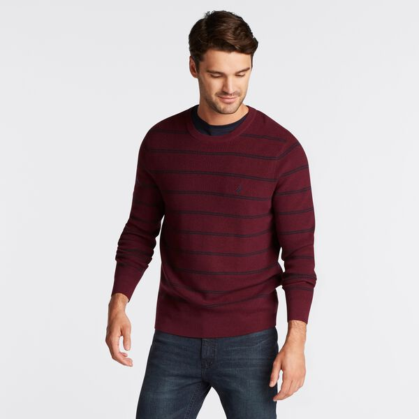 NAVTECH STRIPED CREWNECK SWEATER - Royal Burgundy