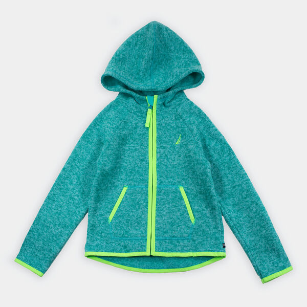 GIRLS' LOGO HOODED NAUTEX FLEECE (8-20) - Teal Heather