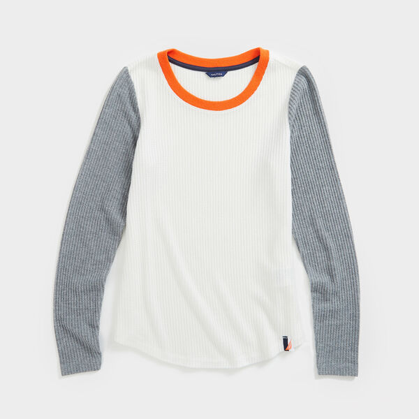 COLORBLOCK SCOOP NECK KNIT TOP - Marshmallow